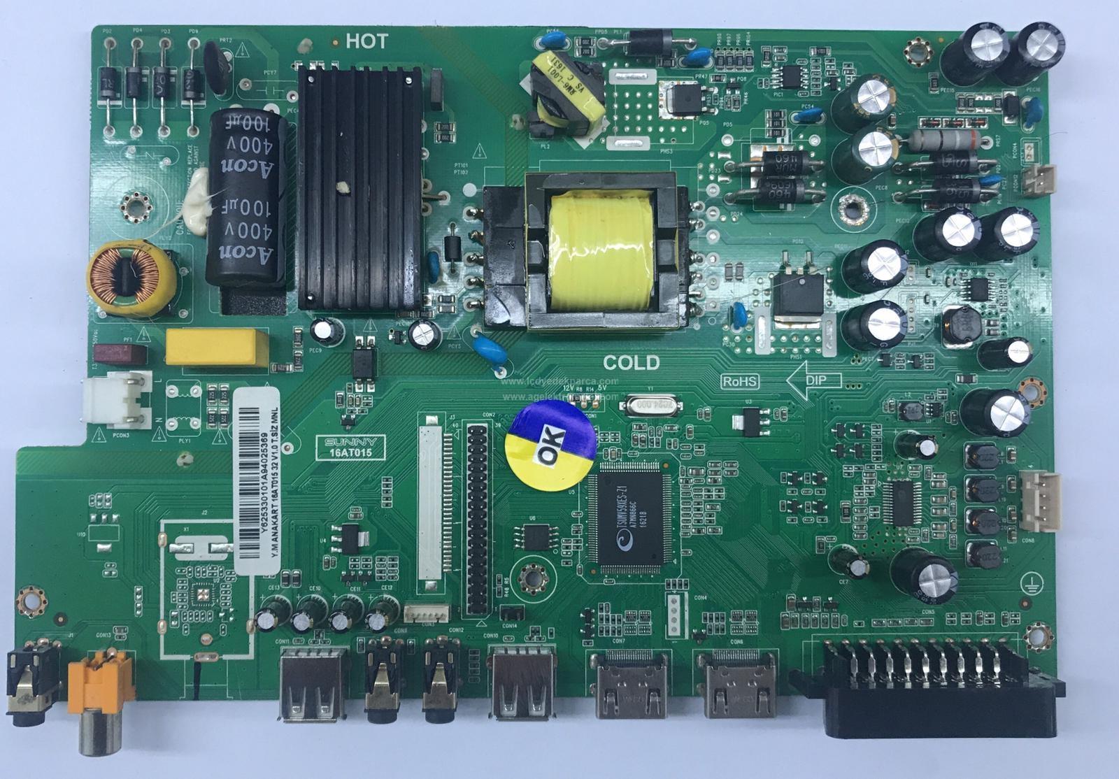 16AT015 , V1.0 T.SİZ MNL , SUNNY , LC320DXN , AX032DLD16AT015 , Main Board , Ana Kart