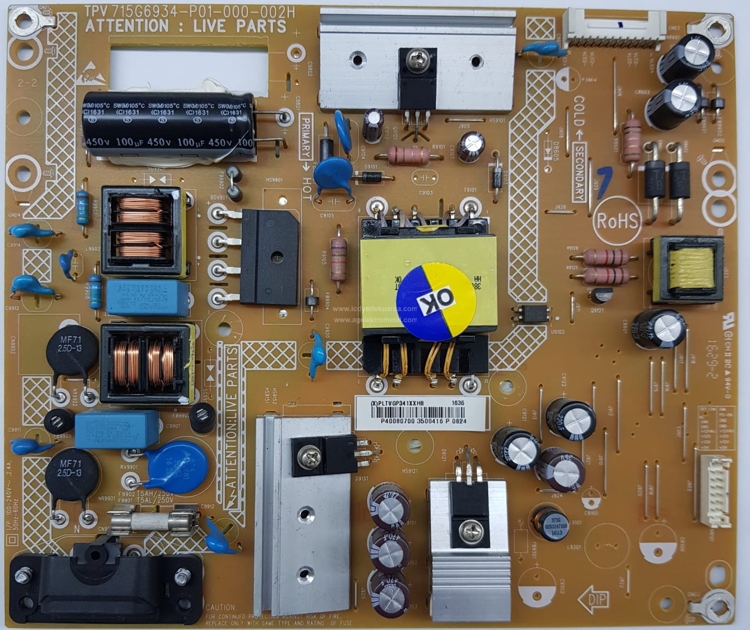 715G6934-P01-000-002H , 40PFK4101/12 , TPT400LA , Power Board , Besleme Kartı , PSU