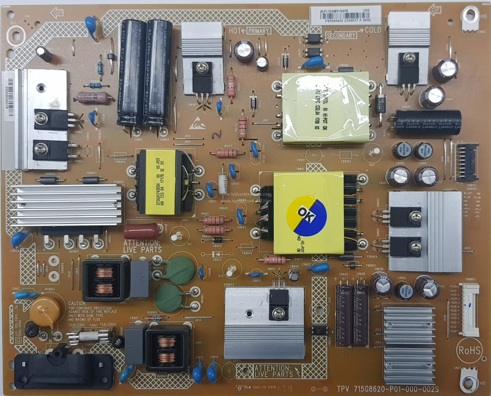 715G8620-P01-000-002S , TPT430U3 , 43PUS6262 , 43PUS6412 Power Board , Besleme Kartı , PSU
