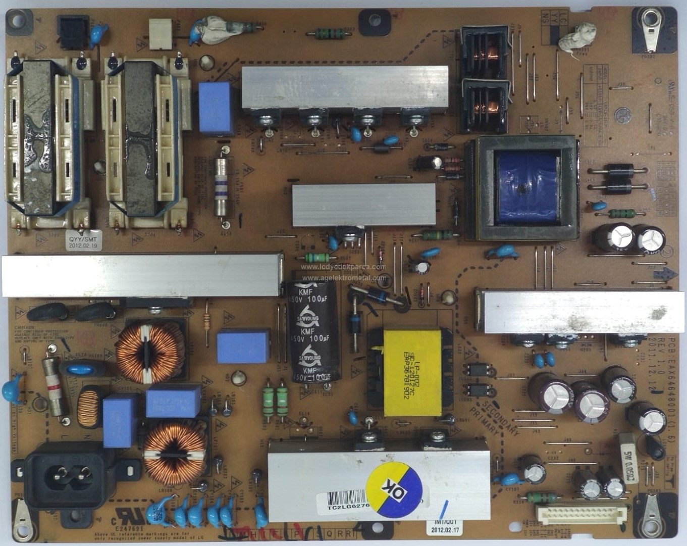 EAX64648001 , (1.6) , LGP42-12LF , LG , 42PF6011 , Power Board , Besleme Kartı , PSU
