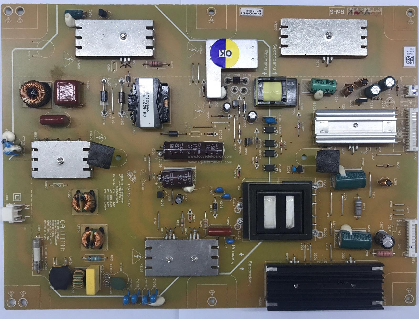 FSP145-4F07 , VEV190 , ARÇELİK , LTA320AP18 , F82-210 , Power Board , Besleme Kartı , PSU