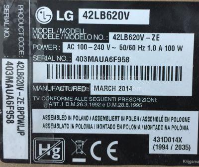 LG , LC420DUE FG P2 , 42LB620V , 6916L-1709A , 6916L-1710A , 6916L-1956a , 6916L-1957A , 8 ADET LED ÇUBUK