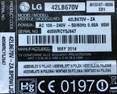 LG , LC420DUH PG F1 , 42LB670V , 42LB731V , 42LB730 , 42 V14 SLIM DRT REV0.6 , 6916L-1682A , 6916L-1683A , 6916L-1684A , 6916L-1685A , 10 ADET LED ÇUBUK